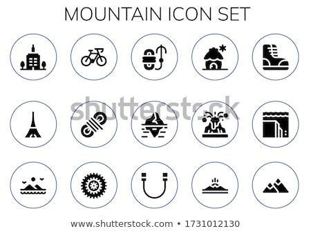 Buzdağı ikon siyah vektör dağ logo Stok fotoğraf © mcherevan