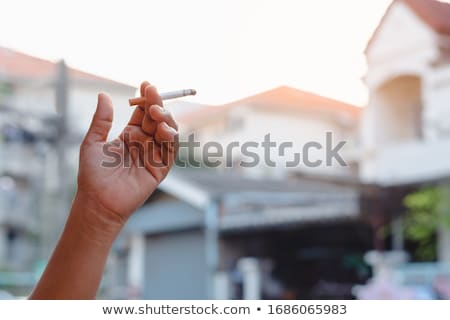 Beautiful woman holding many cigarettes in the mouth Stock photo © deandrobot