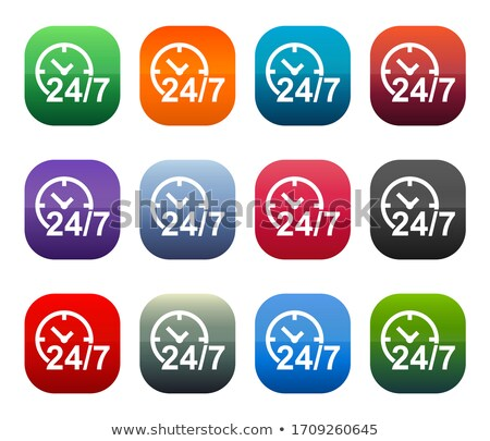 Stock photo: 24 Hours Services Square Vector Pink Icon Design Set
