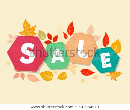 Autumn Sale With Leaves Grunge Drawn Hexagons Labels Stockfoto © marinini