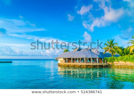 Tropical beach huts at sunrise Stock photo © Supertrooper