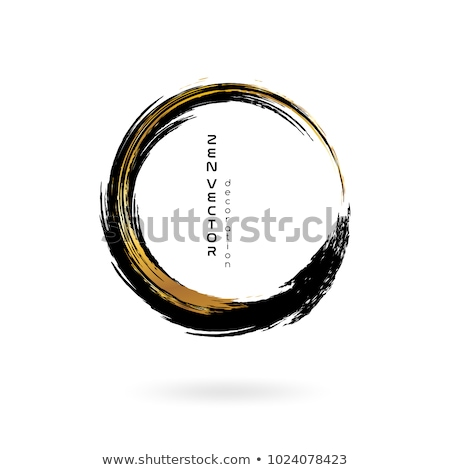 Gold paintbrush circle vector frame Stock photo © gladiolus