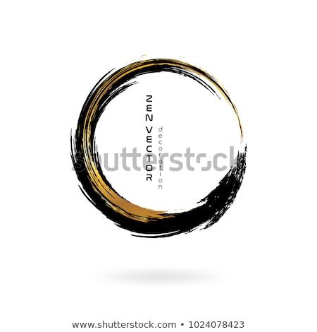 gold paintbrush circle vector frame stock photo © gladiolus
