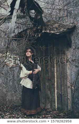 öreg paraszt nő portré idős román nő Stock fotó © igabriela