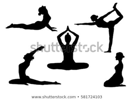 Pilates silueta puesta de sol ilustración deporte fitness Foto stock © adrenalina
