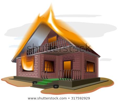 Brick house burns. Cottage fire. Vacation home. Property insurance Stock photo © orensila