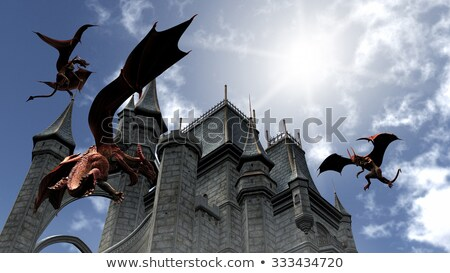Three Red Dragons attacking the castle stock photo © ankarb