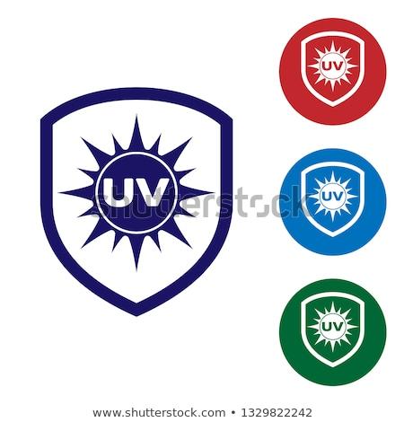 ストックフォト: 保護された · 青 · ベクトル · アイコン · デザイン · サービス