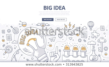 big idea concept with doodle design style vector illustration