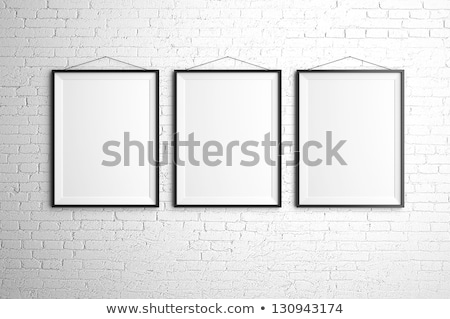 Foto stock: Negro · marcos · blanco · pared · de · ladrillo · pared · arte