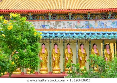 templom · égbolt · tájkép · narancs · kék · utazás - stock fotó © tang90246