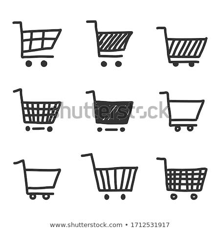 firka · bevásárlókocsi · ikon · kék · toll · kézzel · rajzolt - stock fotó © pakete