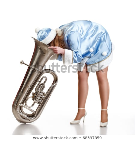 funny santa girl with big trumpet Stock photo © PetrMalyshev