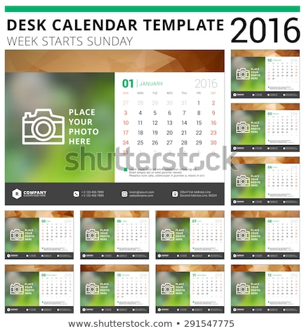 desk calendar 2016 vector design templateset of 12 monthsweek stock photo © chatchai5172