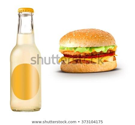Stock fotó: üveg · citromsárga · limonádé · sajtburger · kenyér · hús