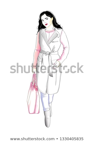 hand drawn watercolor fashion illustration - girl holding bags Stock photo © gigi_linquiet