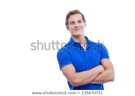 Jeune homme bleu polo posant blanche studio Photo stock © feedough
