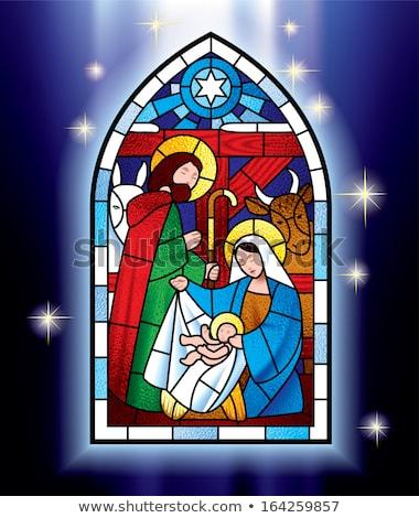 Vidrieras ventana Jesús Cristo edad iglesia Foto stock © kyolshin