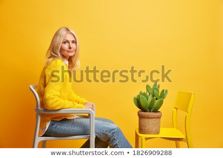 Blonde woman in fashion cloth sitting on the chair Stock photo © deandrobot