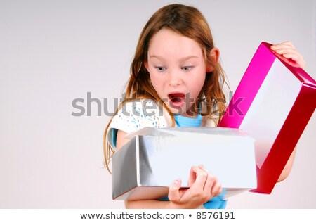 Buzgó nyitva ajándék nő nagy doboz Stock fotó © alphaspirit