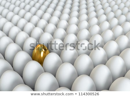 Golden egg standing out from the others. 3D illustration render Stock photo © grechka333