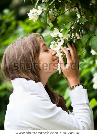 sorrindo · jardim · de · flores · flores · natureza · jardim · planta - foto stock © lightpoet
