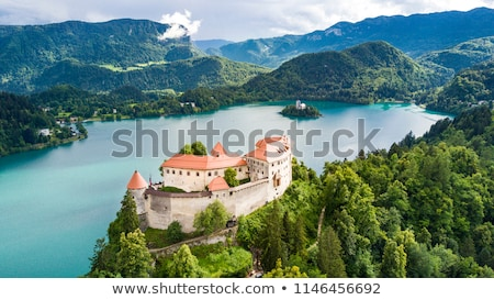 Kastély tó Szlovénia Európa építkezés természet Stock fotó © dezign80