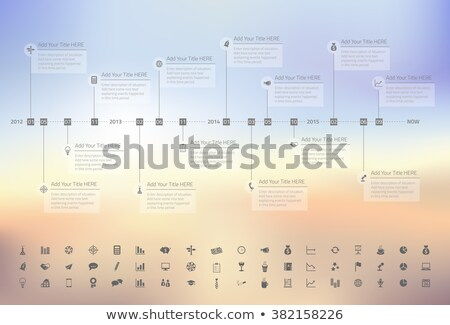 Modern rainbow timeline with transparent milestones in pastel colors on blurred background. Set of i Stock photo © liliwhite
