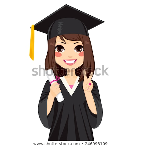 Girl in graduation gown holding degree Stock photo © bluering