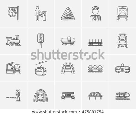 Vasút víztartály rajz ikon vektor izolált Stock fotó © RAStudio