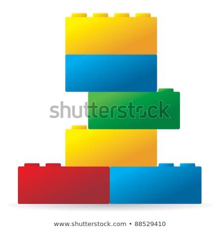 Plastic building blocks. Front view Stock photo © djmilic