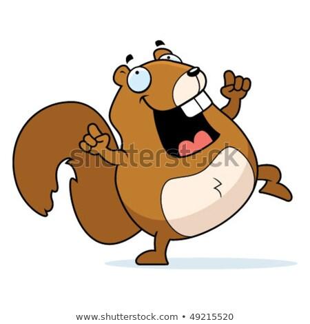 Brązowy wiewiórki taniec kolorowy cartoon ilustracja Zdjęcia stock © derocz