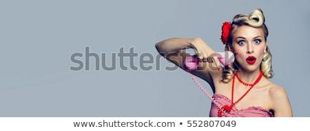 pinup · ragazza · call · center · illustrazione · agente · sexy - foto d'archivio © lenm