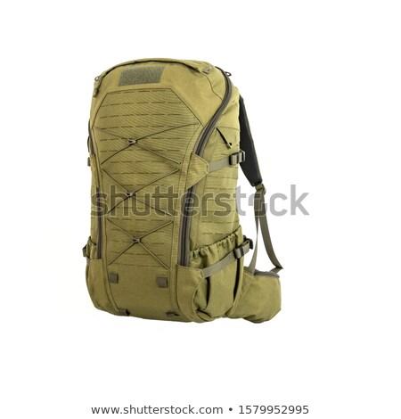 Askeri kask sırt çantası cephane yeşil Stok fotoğraf © OleksandrO