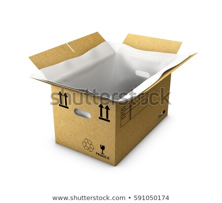 3d Illustration empty cardboard box opened with thermo foam in , isolated on white background Stock photo © tussik