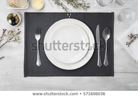 ezüst · kanál · fehér · étel · háttér · fém - stock fotó © digifoodstock