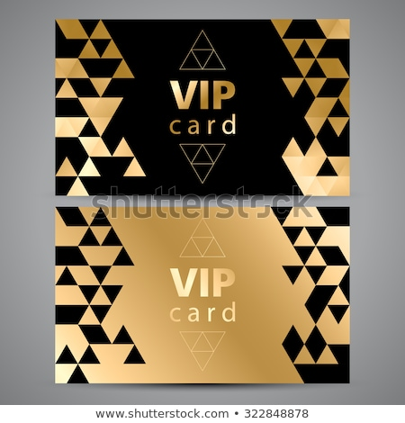 VIP cards. Black and golden design. Triangle decorative patterns. Stock photo © fresh_5265954