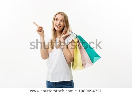 genç · kadın · süpermarket · bakıyor · kadın · kot - stok fotoğraf © elnur