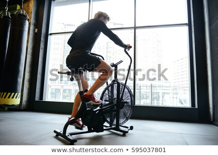 側面図 アスレチック 男 自転車 ジム スポーツ ストックフォト © deandrobot
