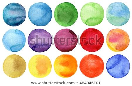 Aquarel cirkels ingesteld hand geschilderd kleurrijk Stockfoto © pakete