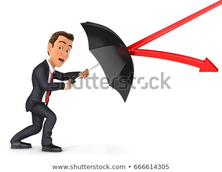 3d businessman stopping arrow with umbrella stock photo © 3dmask
