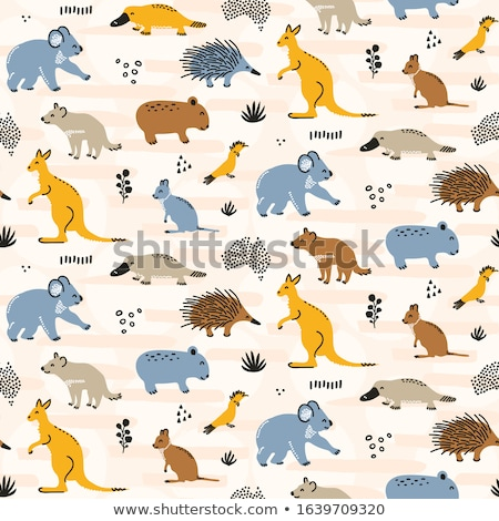 Seamless background design with wombats Stock photo © bluering