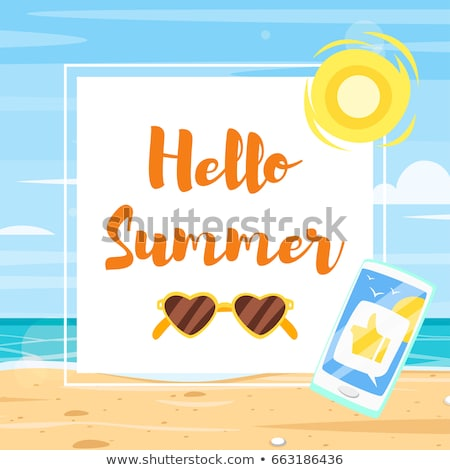 banner template with colorful beach elements around stock photo © curiosity