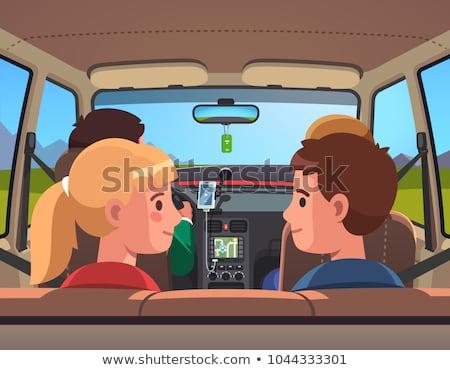 счастливым сидят назад сиденье автомобилей Сток-фото © wavebreak_media