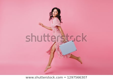 hermosa · viajero · maleta · retrato · Asia - foto stock © lithian