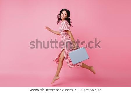Jóvenes morena mujer equipaje retrato viajero Foto stock © lithian