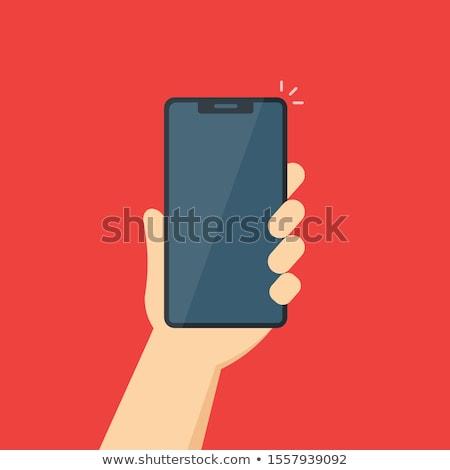 Mobiltelefon tükör tükröződés izolált fehér elöl Stock fotó © kup1984