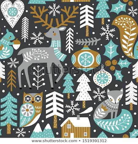snowy christmas decoration with vintage owl stock photo © dariazu