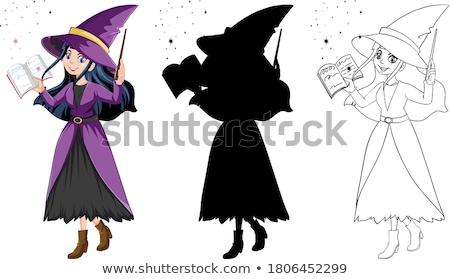 desenho · animado · bruxa · voador · cabo · de · vassoura · escuro · cartaz - foto stock © krisdog