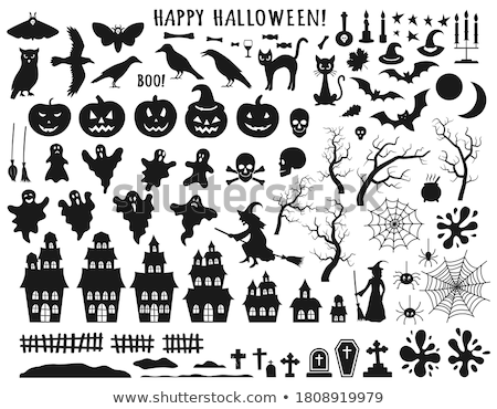 happy halloween vector illustration with black coffin on dark background holiday design with spider stock photo © articular